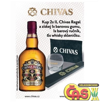 WHISKY - CHIVAS REGAL 2x1l+ Bar.guma+bar.ruèník + 6x sklo 40%